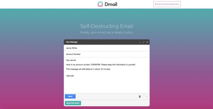 Kendini patlatan e-posta servisi: Dmail
