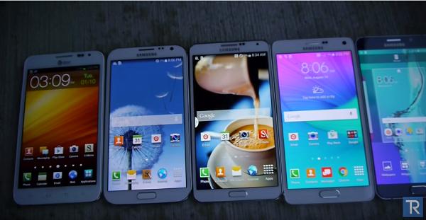 Samsung Galaxy Note 5, 4, 3, 2, 1 çarpışma testi