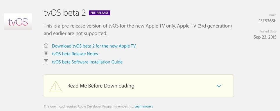 tvOS 9.0 Build 13T5365h Beta 2 şu an test aşamasında!