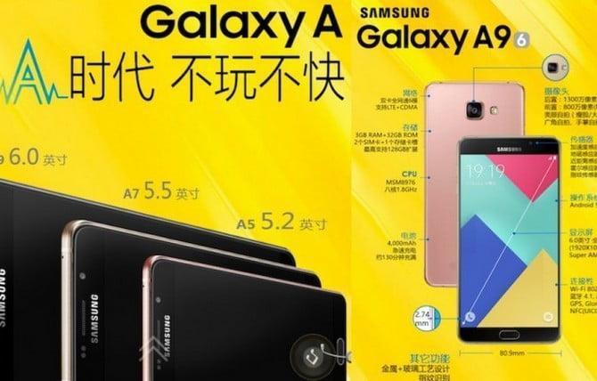 Samsung Galaxy A9'un Resmi Özellikleri belli oldu!