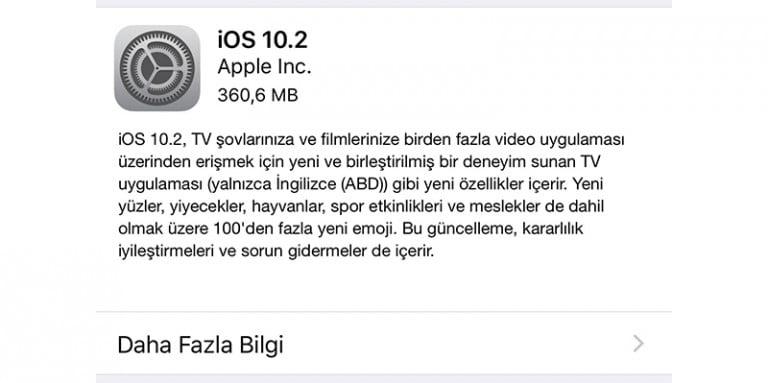 Yeni Apple iOS 10.2 Sahnede!