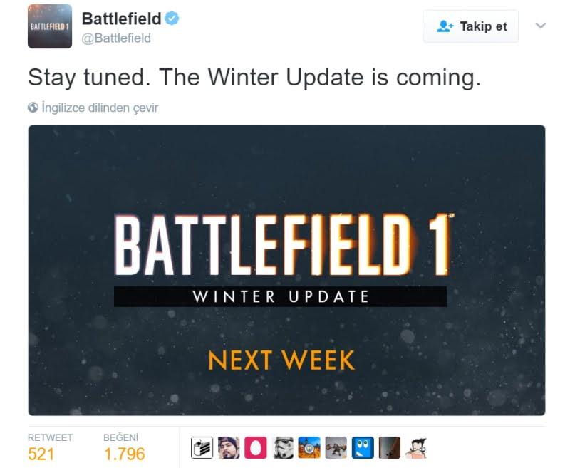Battlefield 1 güncellemesi
