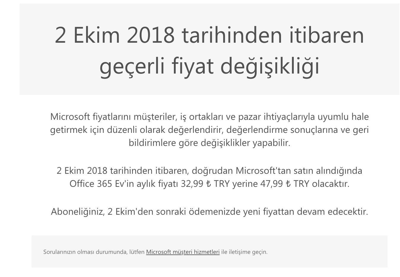Microsoft Office 365 fiyatı