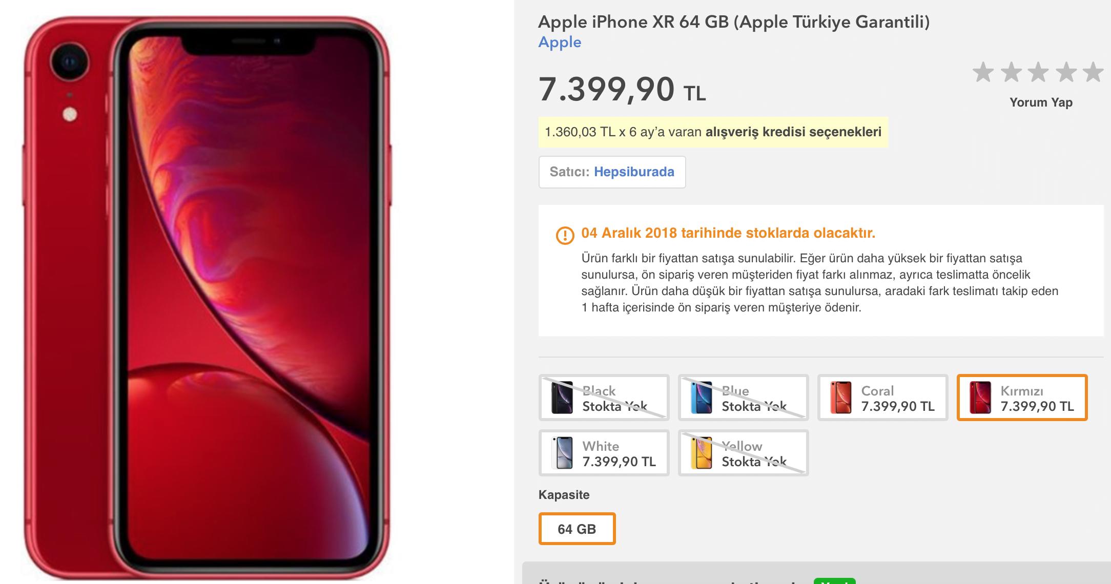 iPhone Xr Türkiye fiyatı