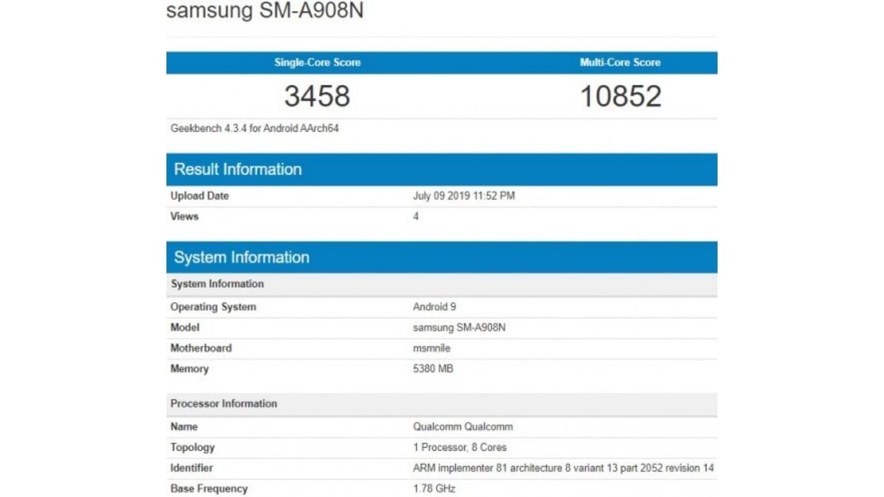 Galaxy A90 Geekbench