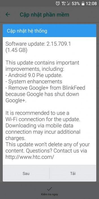 HTC U11+ için Android 9.0 Pie