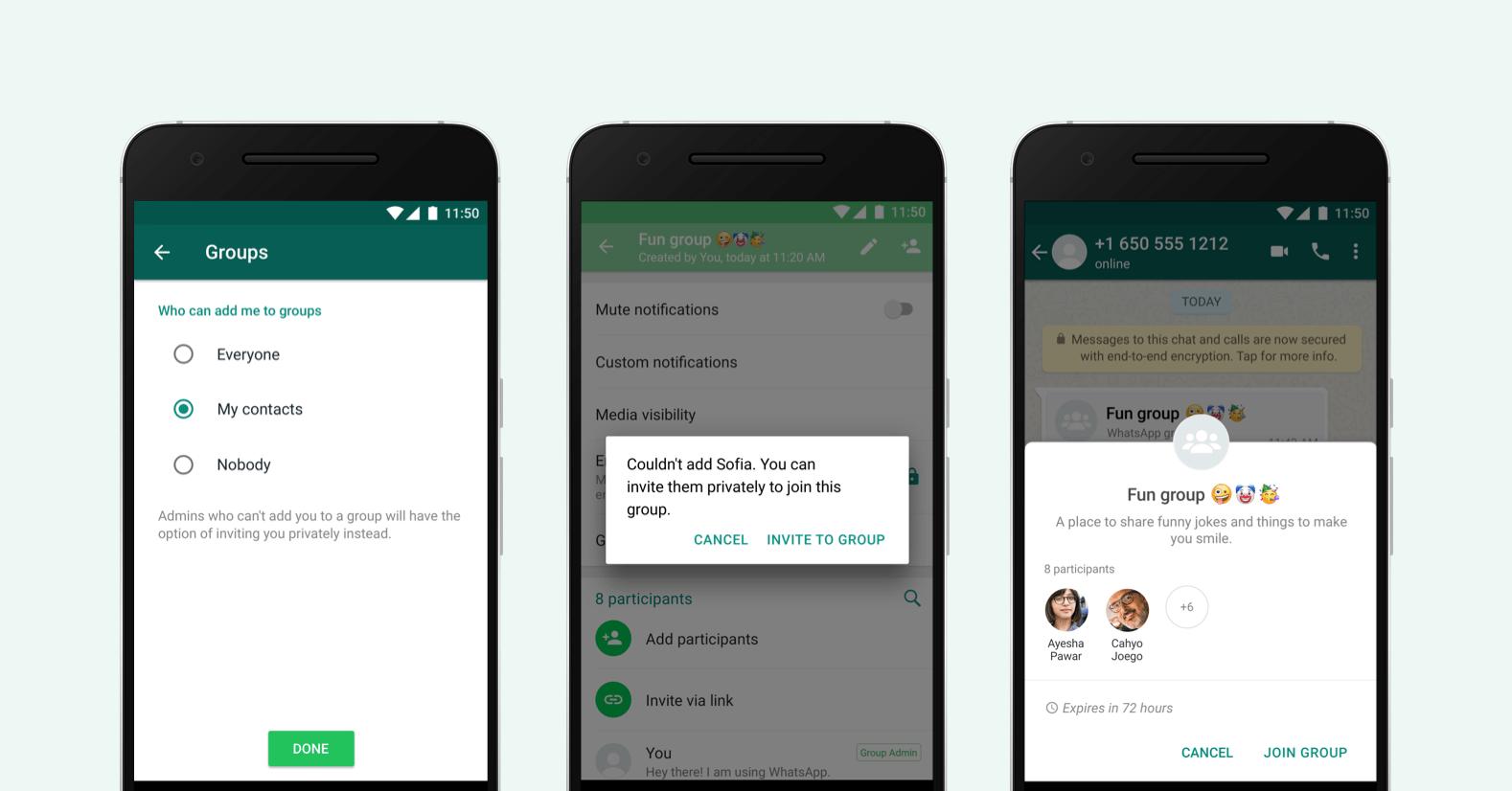 WhatsApp grup gizlilik ayarları