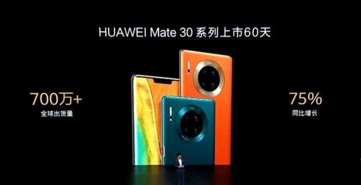 Huawei Mate 30 satış rakamlarını açıkladı