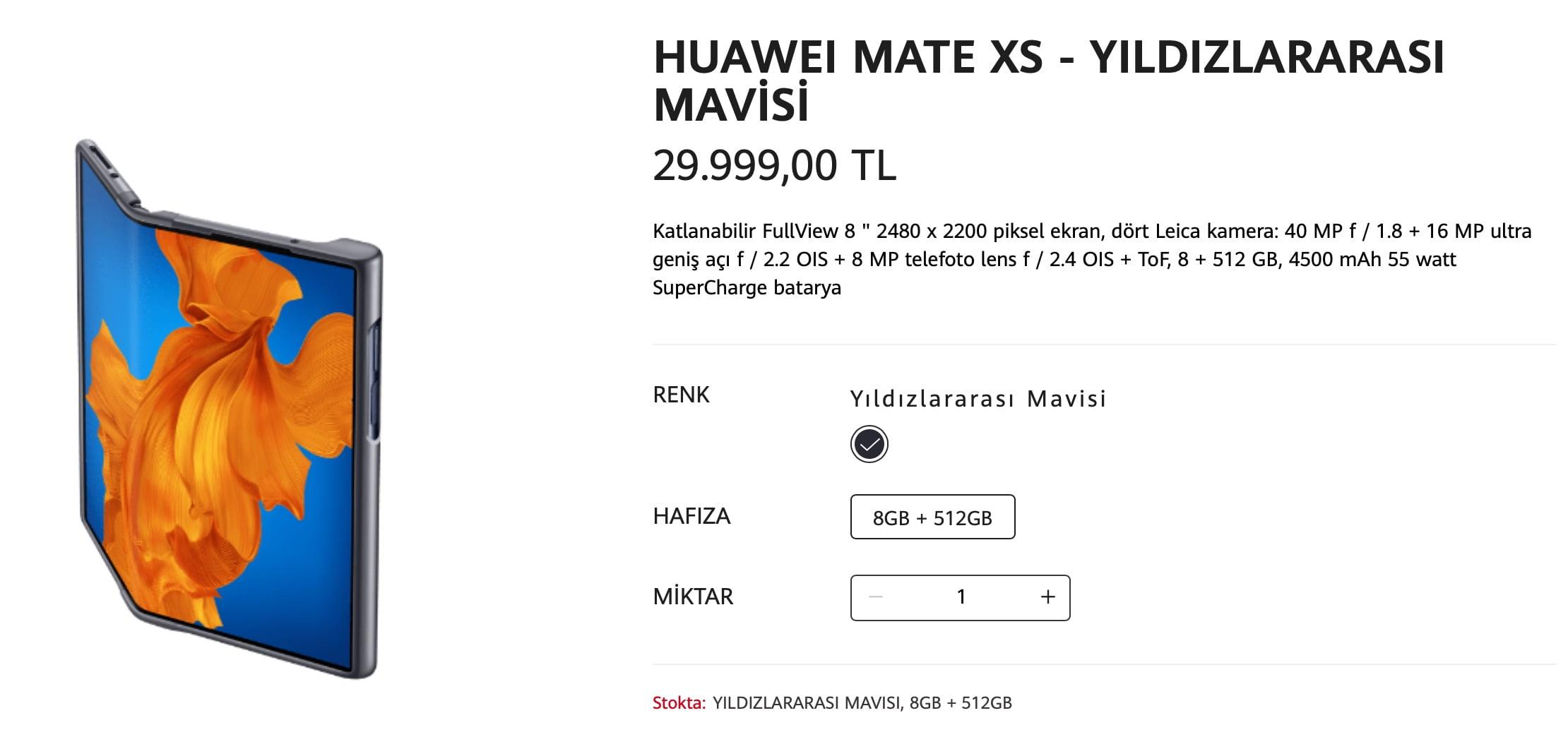 Huawei Mate Xs Türkiye fiyatı