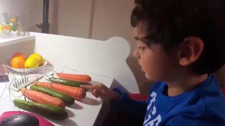 Havuç ve salatalıktan piyano yaptı!