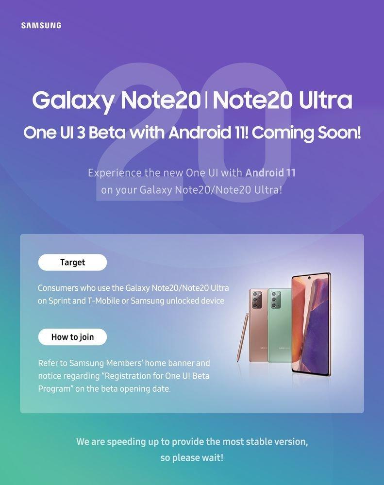 Galaxy Note 20 için One UI 3.0 Beta