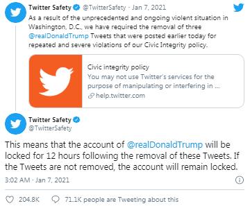 Twitter Donald Trump'ı askıya aldı