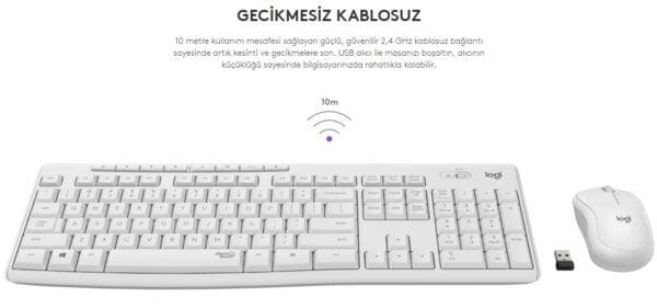 Logitech MK295 sessiz kablosuz klavye ve mouse kombinasyonu