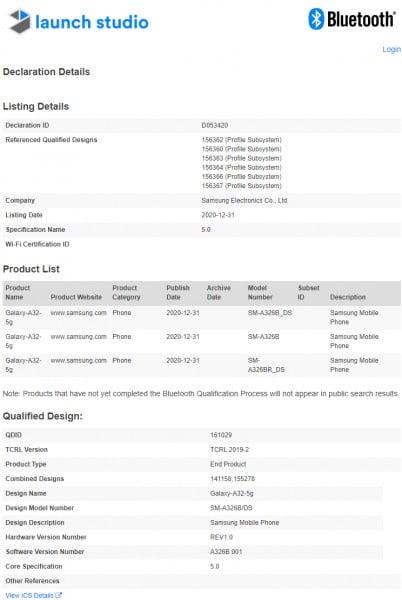 Samsung Galaxy A32 5G Bluetooth sertifikasına sahip