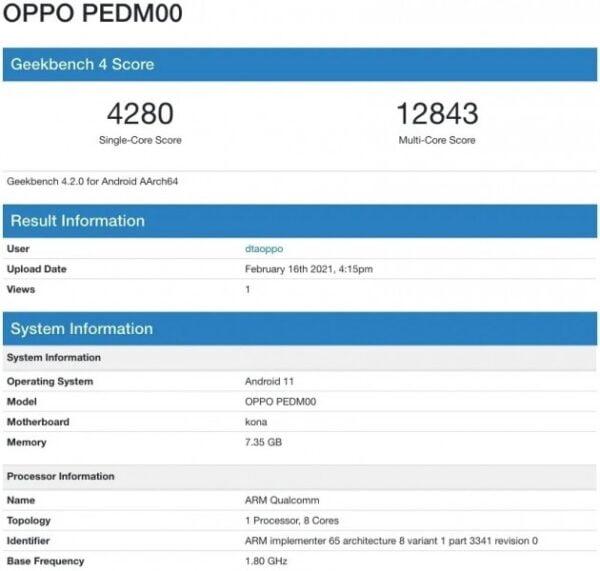 Oppo Find X3, 8GB RAM ve Android 11 ile Geekbench'te görüldü!