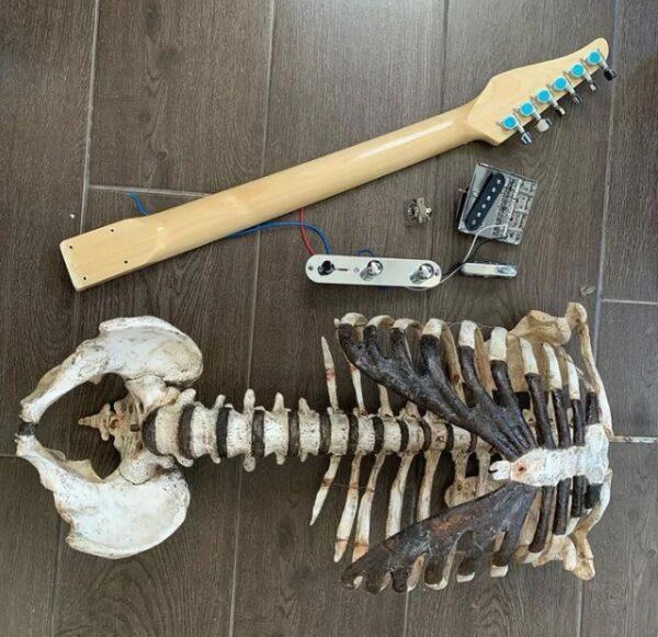 Ölen amcasının iskeletinden gitar yaptı: Skelecaster