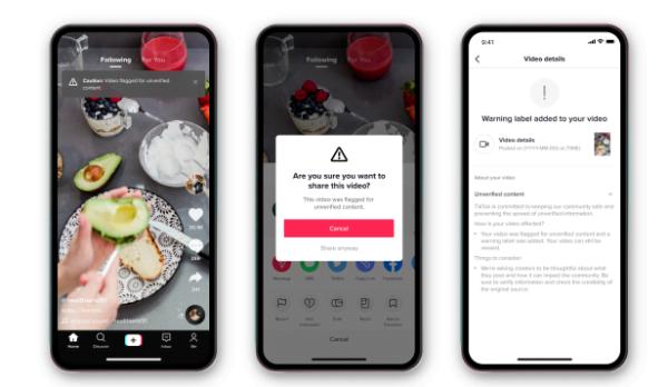 TikTok, 'doğrulanmamış' bilgiler içeren videolara uyarılar ekliyor