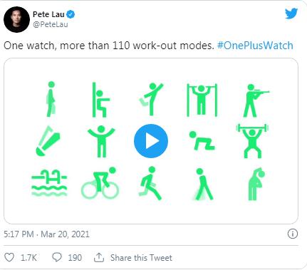 OnePlus Watch, 110'dan fazla egzersiz modunu destekliyor
