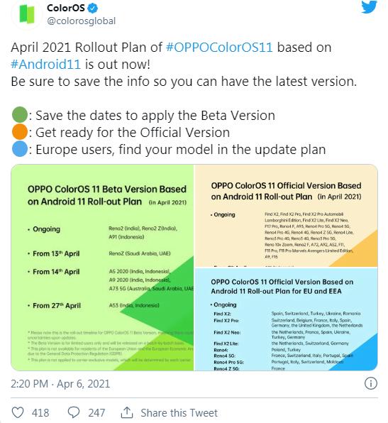 Oppo A91, Reno2 Z ve Reno3 A, ColorOS 11 güncellemesi alıyor