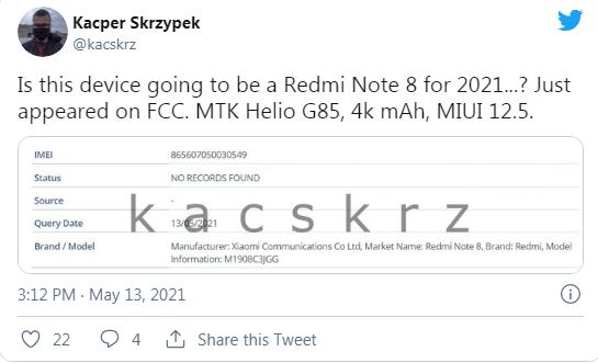 Xiaomi Redmi Note 8 belirli pazarlarda yeniden piyasaya sürülecek