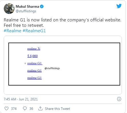 Realme G1 isimli bir cihaz şirketin resmi web sitesinde görüldü